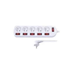 Prodlužovací přívod, 5 zásuvek, bílý, 6x vypínač, 2m