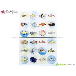 Nálepky s rybičkami v kolečkách - 24 ks
